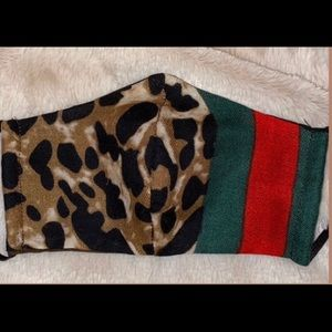 Accessories - Handmade Face Mask - animal print w/ Red&Green